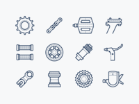 Dotted icons: Bike Spare Parts