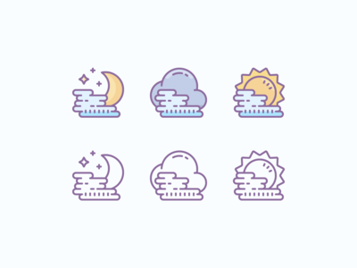 Cute Color and Outline Icons: Foggy Weather