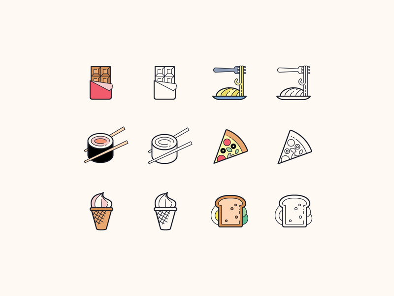 Hand Drawn icons: Food food delivery app spaghetti pizza chocolate food app inteface illustration stroke flat color outline icons8 ui icon set graphic design design digital art vector icons icon