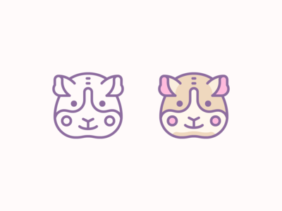 Cute Color and Outline icons: Guinea Pig