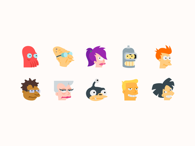 Color icons: Futurama Characters