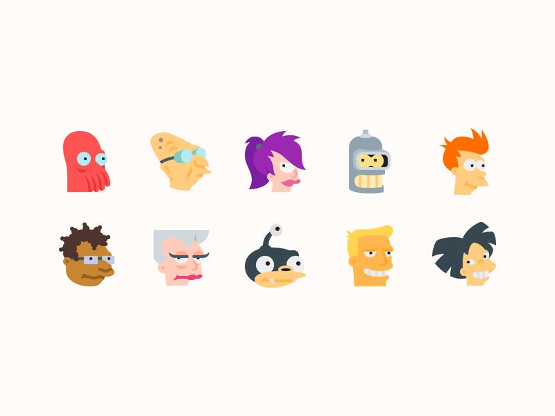 Color icons: Futurama Characters professor sci-fi leela character bender zoidberg fry cinema futurama illustration flat color icons8 icon set graphic design design digital art vector icons icon