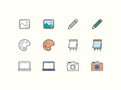 Hand Drawn icons: Art & Design