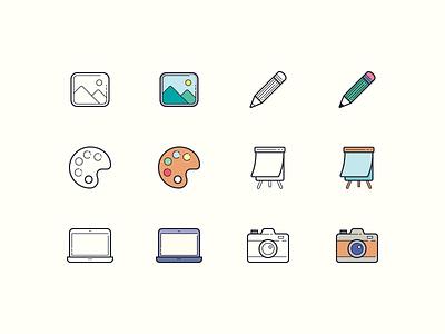 Hand Drawn icons: Art & Design ux digital art photography design art art palette pencil flipboard camera laptop image ui outline icons8 icon set graphic design design digital art vector icons icon