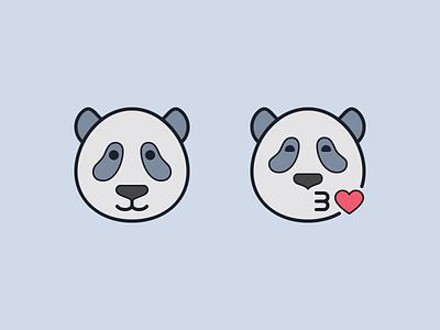 Hand Drawn icons: Pandas pet ux illustration heart emoji set emoji kissing panda kiss pandas panda outline ui icons8 icon set graphic design design digital art vector icons icon