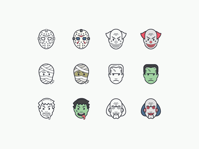 Hand Drawn icons: Halloween scary clown frankenstein movie character zombie mummy halloween spooky illustraion color icons8 icon set graphic design design digital art vector icons icon