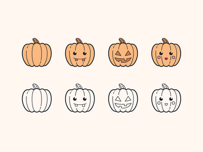 Hand Drawn icons: Pumpkins
