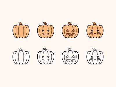 Hand Drawn icons: Pumpkins spooky funny pumpkin cute pumpkin cute scary jack o lantern vector art halloween pumpkin color outline ui icons8 icon set graphic design design digital art vector icons icon