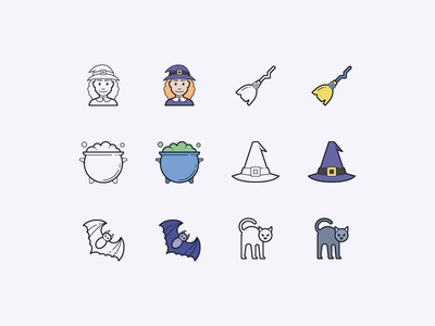 Hand Drawn icons: Witchy Stuff potion witch broomstick bat cauldron witches hat black cat illustration color outline ui icons8 icon set graphic design design digital art vector icons icon