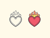 Hand Drawn icons: Heart on Fire
