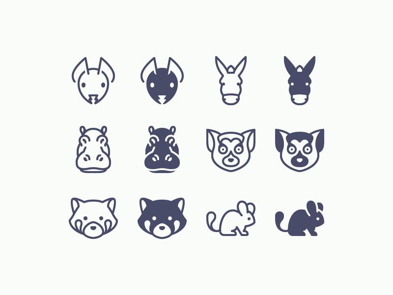 iOS icons: Animals wildlife pet animal care animal ant chinchilla donkey lemur hippo red panda outline ui icons8 icon set graphic design design digital art vector icons icon