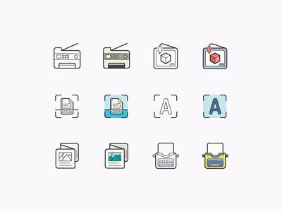 Hand Drawn icons: Printing