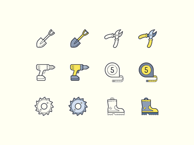 Hand Drawn icons: DIY diy fireman boots drill tape measure saw blade garden shears spade hand drawn color outline ui icons8 icon set graphic design design icons icon digital art vector