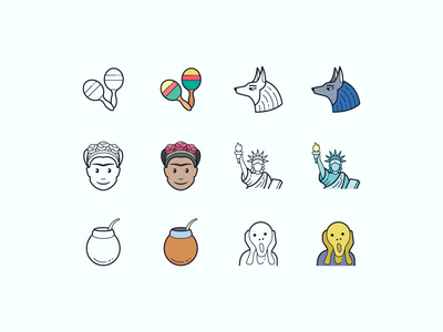 Hand Drawn icons: Culture scream edvard munch statue of liberty maracas mate frida kahlo egypt traveling culture color outline ui icons8 icon set graphic design design icons icon digital art vector