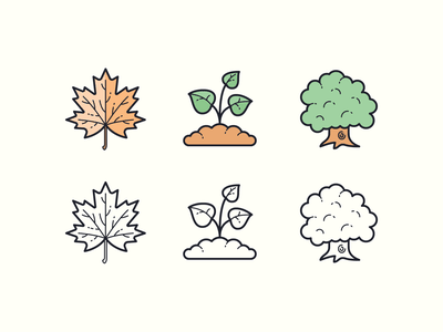 Hand Drawn icons: Plants forest leaf gardening maple plant tree oak tree sprout outlined color ui icons8 icon set graphic design design icons icon digital art vector