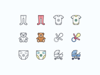 Hand Drawn icons: Baby icons