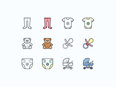 Hand Drawn icons: Baby icons baby app baby pacifier stroller onesie nappy teddy bear tights diaper color outline ui icons8 icon set graphic design design icons icon digital art vector