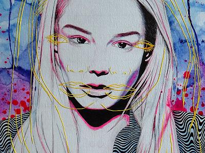 a u r a d a n g e r s colorful illustration portrait iankulova iva painting canvas