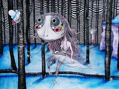 n a k e d y e a r n i n g glitter dark colorful paintings artwork trippy twisted pencheva angela painting weird fairy woods watercolor art op illustration fantasy chaarcters forest