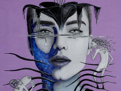 b i t t e r s w e e t t e a r s portrait galaxy creatures character gouache glitter pencheva angela artwork model fantasy dark colorful canvas art painting illustration