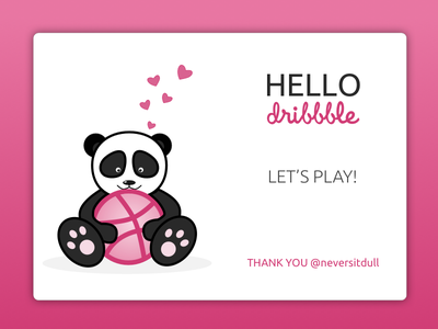 Hello Dribble! black and white pink hello thank you panda debut