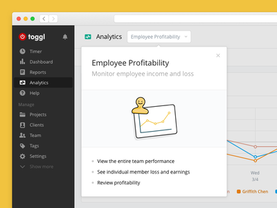 Analytics Onboarding browser web app toggl