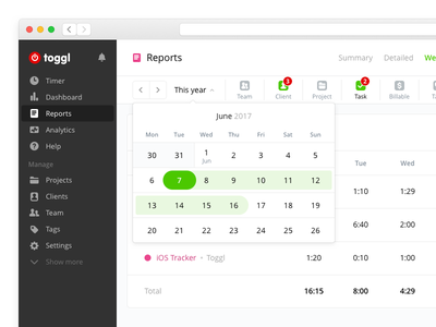 Date Switcher sidebar tracker time ui web toggl