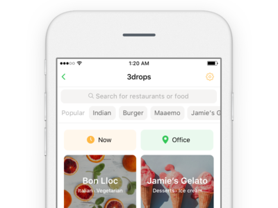 Search food restaurants iphone ios ui