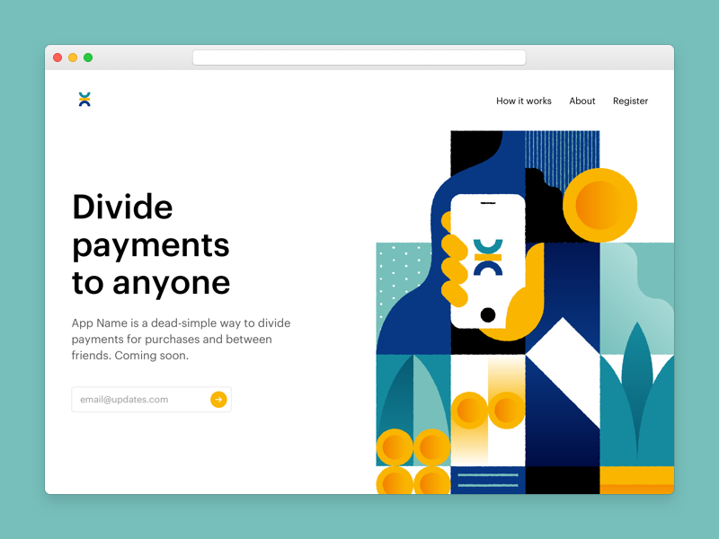 Marketing Page payment illustration web app