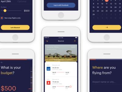 Bounce app booking ui ios iphone travel flight
