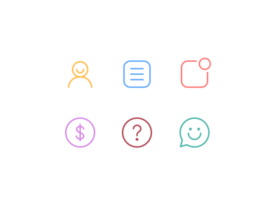 Menu Icons support money notifications orders user