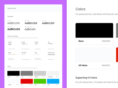 Style Guide typography color document component ui
