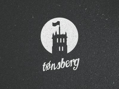 Tønsberg city logo castle black white shape type