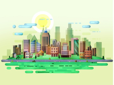 City Illustration city colors illustration buiding