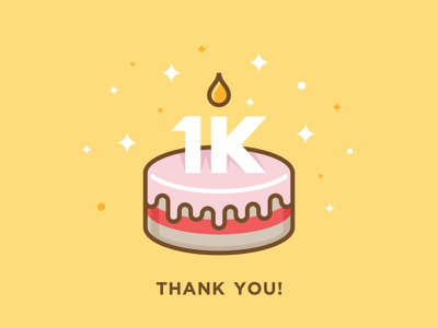 1000 Followers dribbble community candle festive vector gratitude thanks party cake celebration followers 1k