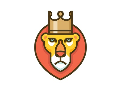 Lion V2 vector illustration animal crown icon symbol mark logo king lion
