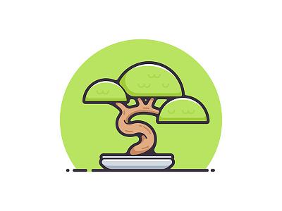 Bonsai plant nature leaves art japanese miniature illustration symbol icon tree bonsai