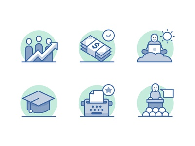 Icon Set conference typewriter write blog learn lifestyle money payment company career outline icons
