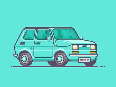 Fiat 126 aka Maluch drive classic small outline illustration auto automobile vehicle car maluch fiat fiat maluch