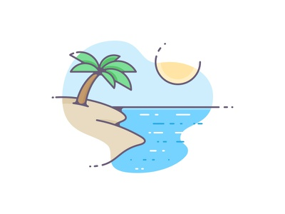 Summer waves outline illustration island palm tree tan hot sun water summer