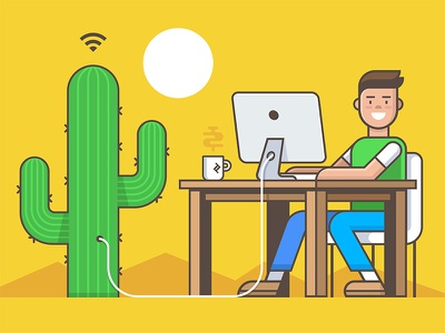 Work is where WIFI is work anywere imac coffee outline cactus office desk internet wifi digital nomad remote work illustration