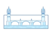 Charles Bridge - Prague water icon symbol prague charles bridge landmark architecture historic bridge outline illustration