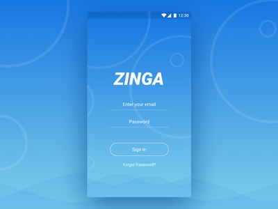 Zinga - Assistant App assistant intelligence artificial appinterface ux ui signin materialdesign
