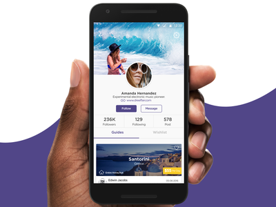Profile view - Android App android surf material ui guides profile travel