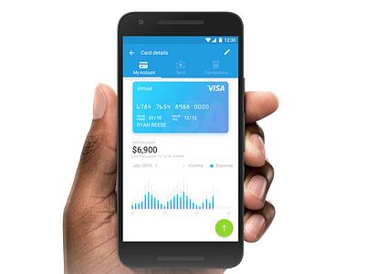 My Account view screen app ux ui account balance statistics funds send card credit material