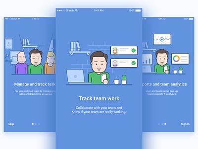 Time Doctor Mobile App - Onboarding illustrations ios app design flow ux ui onboarding