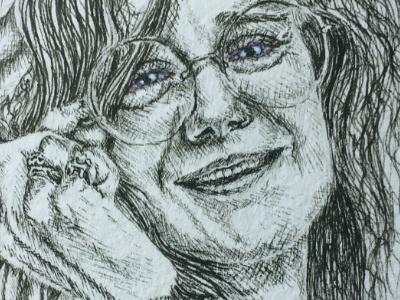 Janis Joplin singer glasses portrait watercolor pen 27 club janis joplin