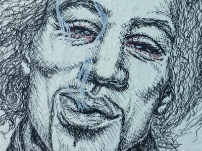 Jimi Hendrix 27 club jimi hendrix smoke guitar portrait realism ink pen watercolor illustration