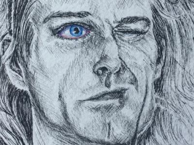 Kurt Cobain 27 club kurt cobain illustration realism portrait ink pen eyes watercolor suicide singer nirvana