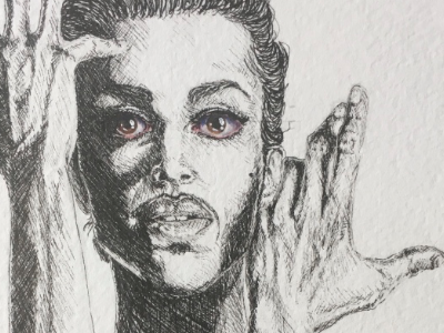 Prince musician realism portrait illustration ink eyes watercolor hands purple rain prince